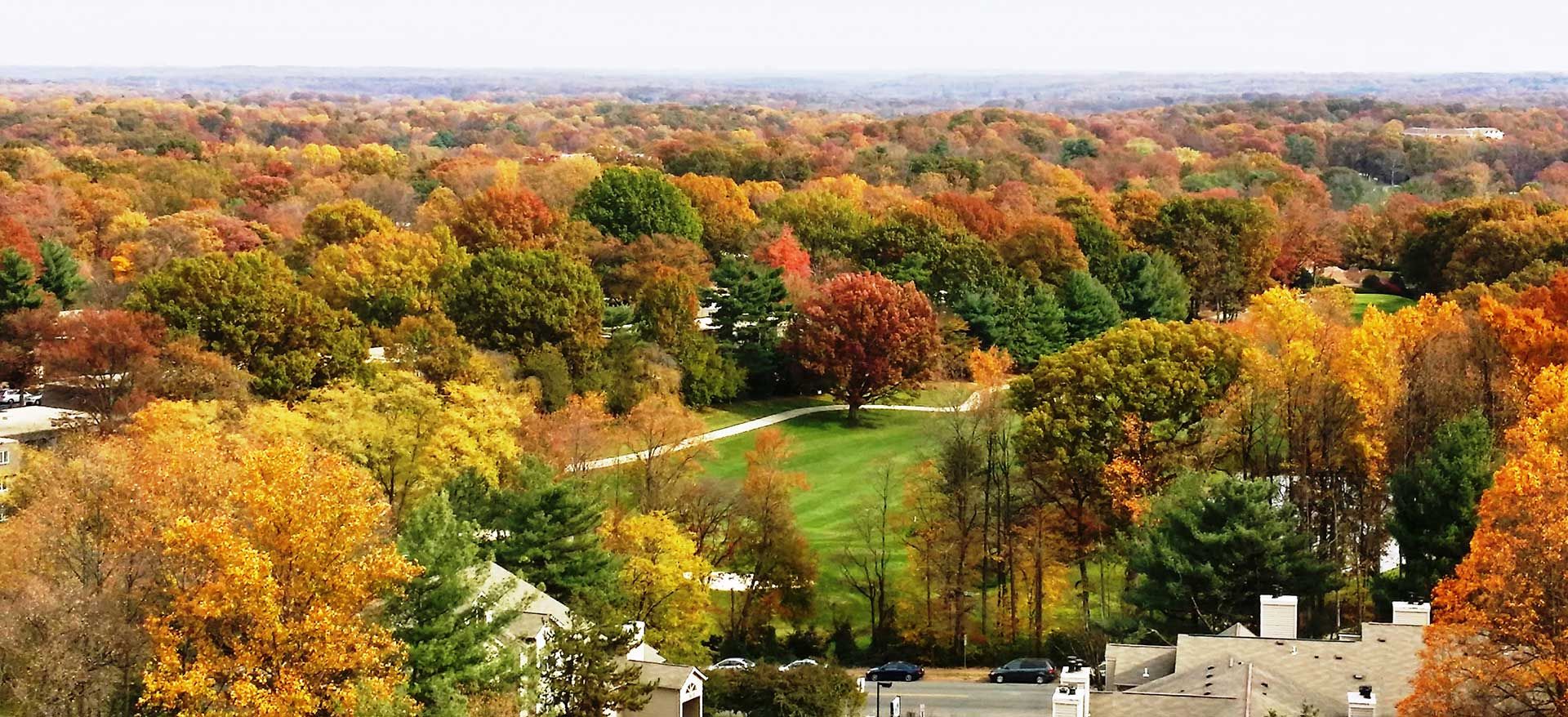Panoramic view of fall foliage as seen from The Harrison