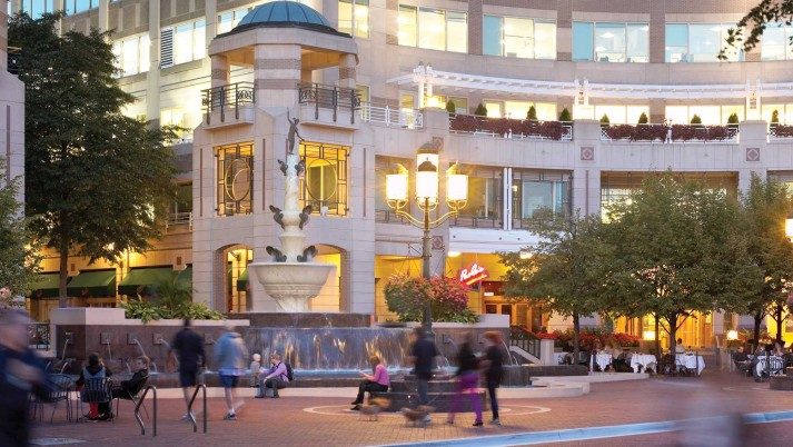 Reston Town Center street scene with fountain