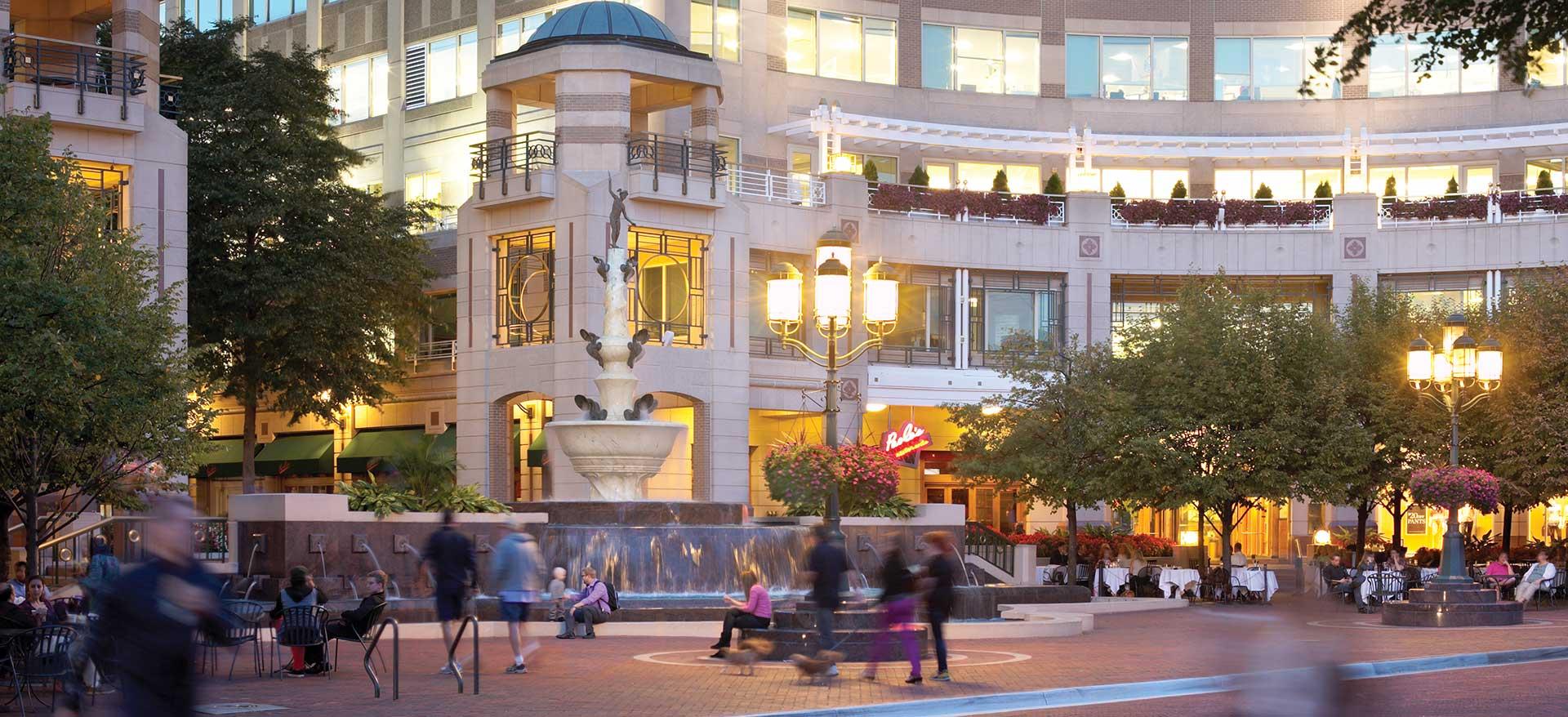 Reston Town Center street scene with fountain
